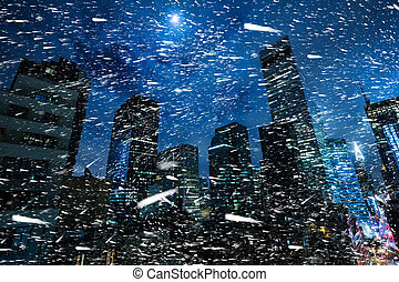 Winter in NYC. Manhattan at night - Winter in NYC. Snowstorm...