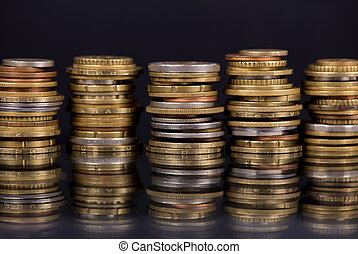 Stack Coins Over Black Background - Composition of the coins...
