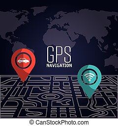 GPS navigation technology graphic design, vector...