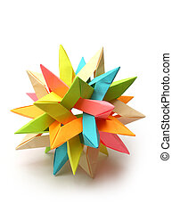 colorido, modular, origami, estrella,