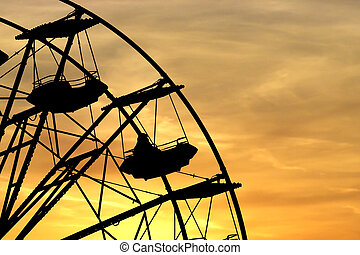 Wheel - Silhouette of a quarter of a panoramic wheel on...