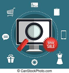 Shopping online and digital marketing graphic design, vector...