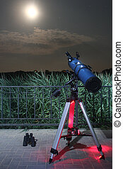 Telescope pointing at moon