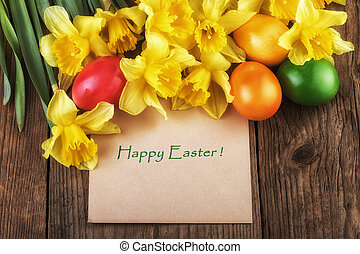 Easter card Happy Easter with yellow flowers