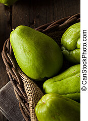 Raw Green Organic Chayote Ready to Eat