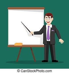 business man with pointer at the board