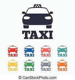 Taxi car sign icon Public transport symbol Colored flat...