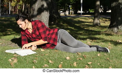 women studying outdoor at fall real time no audio
