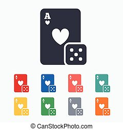 Casino sign icon. Playing card with dice symbol. Colored...