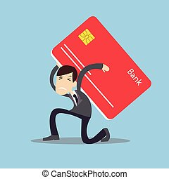 man carrying heavy credit card debt financial management trouble burden