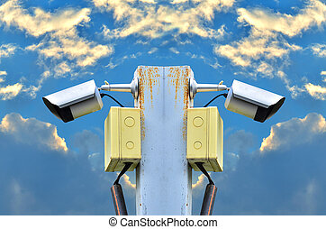 surveillance camera - Two surveillance camera on white...