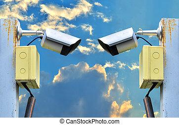 surveillance camera - Two surveillance camera on white...