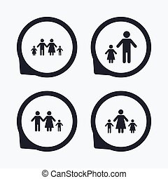 Family with two children sign Parents and kids - Family with...