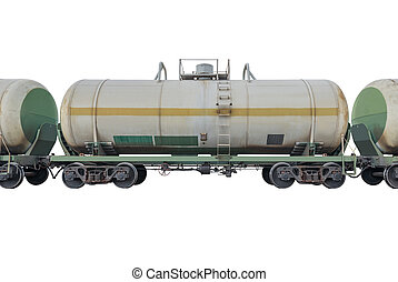Tanker cars in the train isolated on white background.