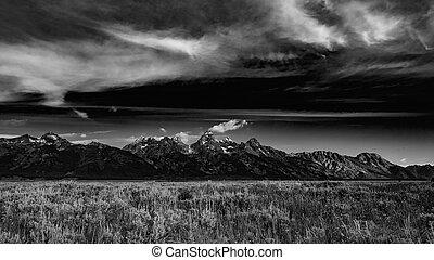 Grand Tetons mountain range, Grand Tetons National Park,...