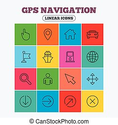 GPS navigation icons. Car and Ship transport.