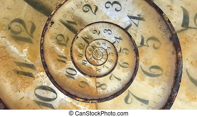 Endless Time Passing - Clock Face Infinite Spiral Loop