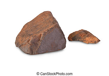 Two pieces of iron ore isolated on white background