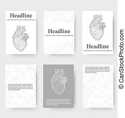 Abstract Creative concept vector background of the human heart. Polygonal design style letterhead and brochure for business. Vector Illustration eps 10 for your design.