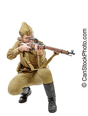 Russian girl soldier WW2 reenacting isolated on white - a...