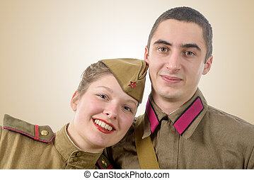 portrait couple in Russian military uniform - a portrait...