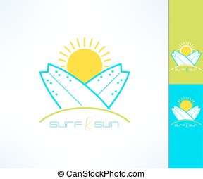 Set of vector surfing company labels logo made in modern...