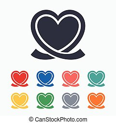 Heart ribbon sign icon. Love symbol. Colored flat icons on...