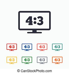 Aspect ratio 4:3 widescreen tv Monitor symbol - Aspect ratio...
