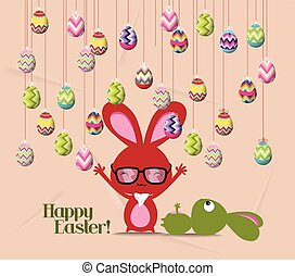 Happy easter card, colorful egg