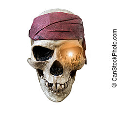 Skull with sunset abstract - Skull wearing maroon bandanna...