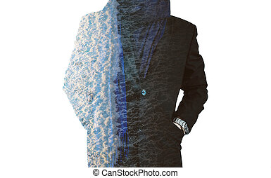 Abstract businessman with branches - Double exposure,...
