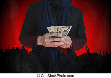 Businessman holding cash, abstract - Businessman holding...