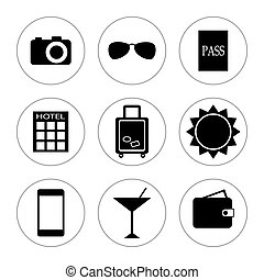 Travel icons on white background.