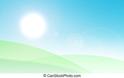 Green fields and sky with sun illustration