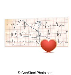 EKG, heart, flat, icon, vector, illustration