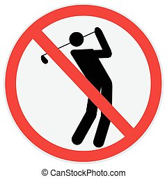 Golf player  - Golf, player, prohibition, sign