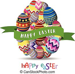 Easter Holiday Greeting Card with Set Egg shaped