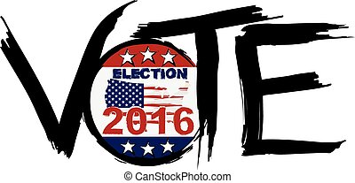 Vote 2016 Election Ink Brush Illustration