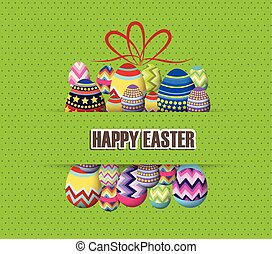 green Paper card with gift easter