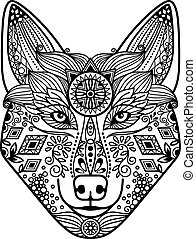 Wolf head with hand drawn ornament - Zentangle wolf head...