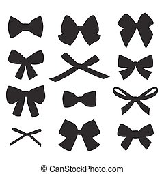 Set of graphical decorative bows. Vector sillouettes...