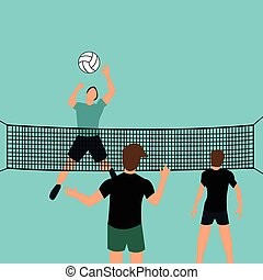 man team play volley ball in court with net jumping smashing...