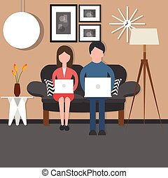 man woman couple bussy working on laptop sitting couch chair...