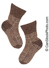 Knitted socks brown - Old brown knitted wool socks on a...