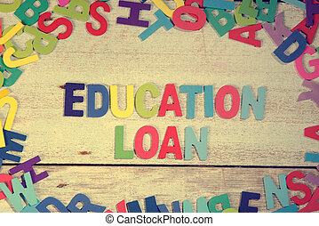 education loan word block concept photo on plank wood