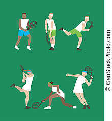 Tennis figure peoples with tennis racket set Vector...