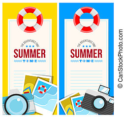 Summertime invite card concept with summer accessories,...