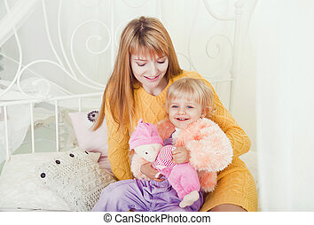 portrait of a young mother and child