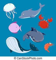 tiburón, animales,  dolphine, Conjunto,  vector, mar, ballena, caricatura