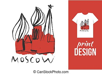 Kremlin hand drawn illustration with text moscow Vector...